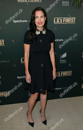 "Stock Image of Head of Spectrum Originals Katherine Pope arrives at the LA Premiere of ""L.A.'s Finest"" at the Sunset Tower Hotel, in Los Angeles"