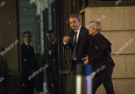 Former Spanish Prime Minister Jose Luis Rodriguez Zapatero (C) arrives to the Spanish Lower House in Madrid, Spain, to attend the funeral chapel of former Minister Alfredo Perez Rubalcaba 10 May 2019 (issued 11 May 2019). Rubalcaba, former Minister of Defense and Interior as well as former deputy chairman of the Socialist Party (PSOE), died 10 May 2019, two days after he suffered a stroke.The funeral chapel will be open until 14.00 local time 11 May 2019, and a private funeral with family and friends will be held 12 May 2019.