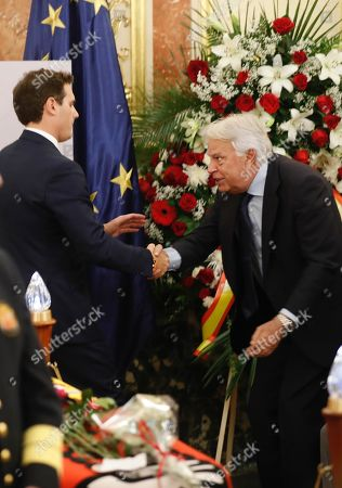Spanish former Prime Minister Felipe Gonzalez (R) greets leader of Spanish Ciudadanos party Albert Rivera (L) at the funeral chapel of former Minister Alfredo Perez Rubalcaba in the Lower House in Madrid, Spain, 11 May 2019. Rubalcaba, former Minister of Defense and Interior as well as former deputy chairman of the Socialist Party (PSOE), died 10 May 2019, two days after he suffered a stroke. The funeral chapel will be open until 14.00 local time 11 May 2019, and a private funeral with family and friends will be held 12 may 2019.