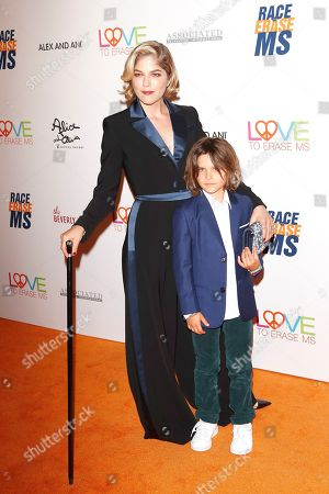 Selma Blair and her son Arthur Saint Bleick arrive for the 26th Annual Race To Erase MS Gala at The Beverly Hilton Hotel, in Beverly Hills, California, USA, 10 May 2019. The gala raises money for Race To Erase MS and its center without walls program.