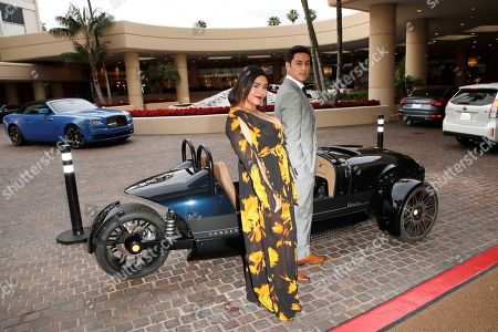 Julio Macias (R) and Jessica Marie Garcia arrive in the Vanderhall Venice car like the one offered for auction at the 26th Annual Race To Erase MS Gala at The Beverly Hilton Hotel, in Beverly Hills, California, USA, 10 May 2019. The gala raises money for Race To Erase MS and its center without walls program.
