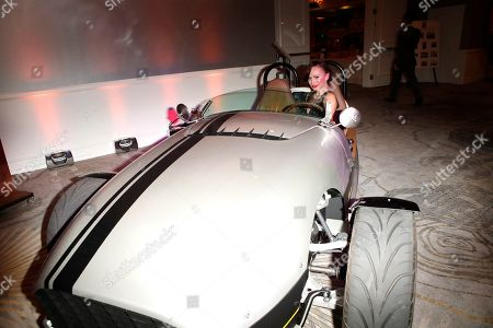 Karina Smirnoff sits in a Vanderhall Venice car offered for auction at the 26th Annual Race To Erase MS Gala at The Beverly Hilton Hotel, in Beverly Hills, California, USA, 10 May 2019. The gala raises money for Race To Erase MS and its center without walls program.