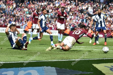 West Bromwich Albion defender Kieran Gibbs (3) brings down Aston Villa midfielder Jack Grealish (10) and concedes a penalty during the EFL Sky Bet Championship first leg Play Off match between Aston Villa and West Bromwich Albion at Villa Park, Birmingham