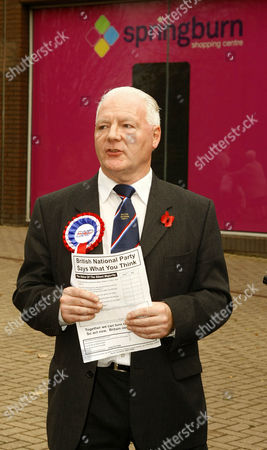 Editorial picture of BNP candidate Charlie Baillie leaflets outside Springburn shopping centre, Glasgow, Scotland, Britain - 26 Oct 2009