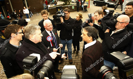 Editorial image of BNP candidate Charlie Baillie leaflets outside Springburn shopping centre, Glasgow, Scotland, Britain - 26 Oct 2009