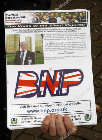 Editorial photo of BNP candidate Charlie Baillie leaflets outside Springburn shopping centre, Glasgow, Scotland, Britain - 26 Oct 2009