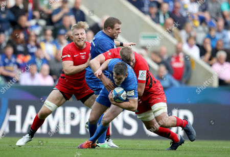 Leinster vs Saracens. Leinster's Johnny Sexton and Sean Cronin with George Kruis and Jackson Wray of Saracens