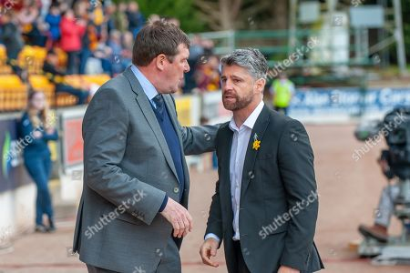 Tommy Wright, manager of St Johnstone FC (left) chats with Motherwell manager Stephen Robinson before the Ladbrokes Scottish Premiership match between St Johnstone and Motherwell at McDiarmid Stadium, Perth