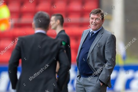 Tommy Wright, manager of St Johnstone FC is all smiles during the Ladbrokes Scottish Premiership match between St Johnstone and Motherwell at McDiarmid Stadium, Perth