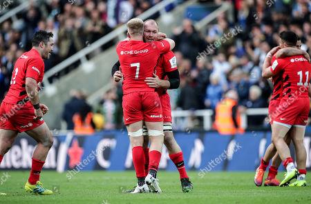 Leinster vs Saracens. Saracens' Jackson Wray and Schalk Burger celebrate at the final whistle