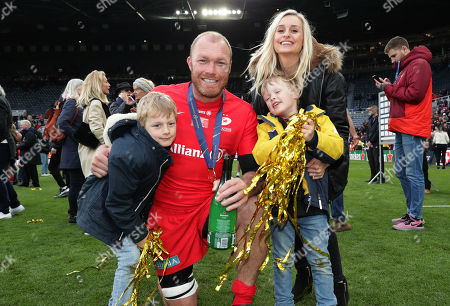 Leinster vs Saracens. Saracens' Schalk Burger celebrates after the game with his family