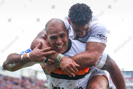 Stock Picture of Bradford's Jake Webster celebrates his try with Dalton Grant.