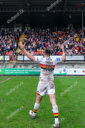 Bradford's James Green celebrates the win.