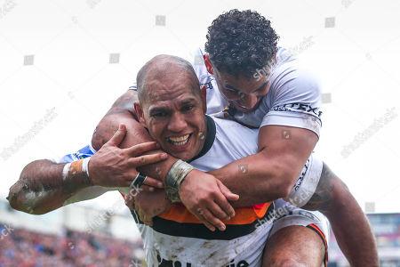 Stock Photo of Bradford's Jake Webster celebrates his try with Dalton Grant.