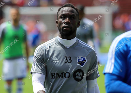 Bacary Sagna of the Montreal Impact prior to an MLS soccer game between FC Cincinnati and Montreal Impact at Nippert Stadium in Cincinnati, Ohio