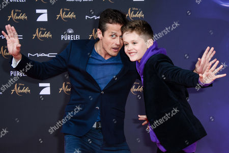 Stock Image of Roman Knizka (L) and his son Leo attend the Aladdin gala screening in Berlin, Germany, 11 May 2019. Aladdin screens in German cinemas from 23 May 2019.