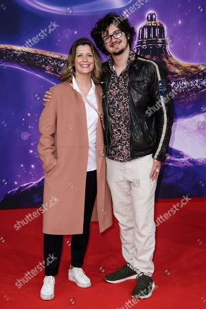Valerie Niehaus (L) and her son attend the Aladdin gala screening in Berlin, Germany, 11 May 2019. Aladdin screens in German cinemas from 23 May 2019.