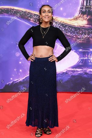 Stock Photo of German TV host Hadnet Tesfai attends the Aladdin gala screening in Berlin, Germany, 11 May 2019. Aladdin screens in German cinemas from 23 May 2019.