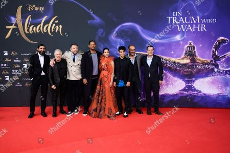 Numan Acar, US composer Alan Menken, British director Guy Ritchie, US actor Will Smith, British actress Naomi Scott, Canadian actor Mena Massoud, US-Iranian actor Navid Negahban and and undefined person attend the Aladdin gala screening in Berlin, Germany, 11 May 2019. Aladdin screens in German cinemas from 23 May 2019.