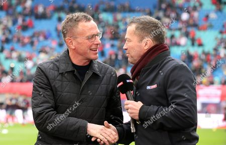 Stock Picture of Trainer Ralf Rangnick, Sky Fernsehexperte Lothar Matthaeus   