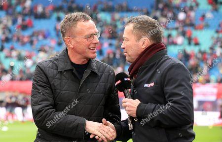 Trainer Ralf Rangnick, Sky Fernsehexperte Lothar Matthaeus    / Sport / Football 1. Bundesliga /  2018/2019 / 11.05.2019 / RB Leipzig RBL vs. FC Bayern Muenchen FCB / DFL regulations prohibit any use of photographs as image sequences and/or quasi-video.  /