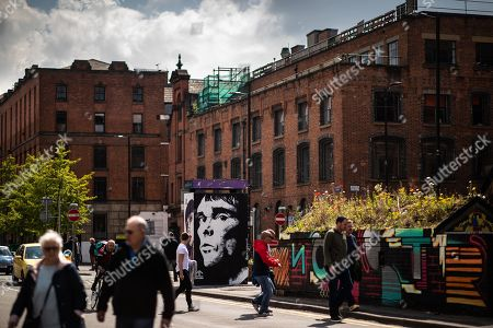 Stock Photo of A mural depicting musician Ian Brown has been painted by artist John Culshaw in Stephenson Square.