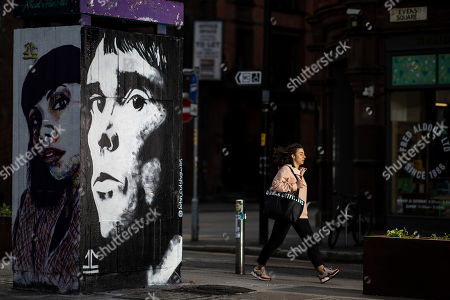 Stock Image of A mural depicting musician Ian Brown has been painted by artist John Culshaw in Stephenson Square.
