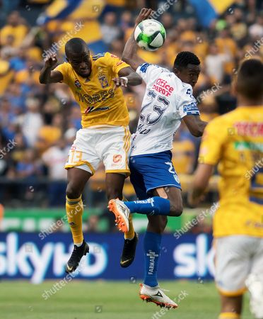 Stock Image of Enner Valencia (L) of Tigres UANL in action against Oscar Murillo (R) of Pachuca during the 2019 Clausura Tournament soccer match between Tigres UANL and Tuzos of Pachuca, at the Universitario Stadium in Monterrey, Mexico, 11 May 2019.