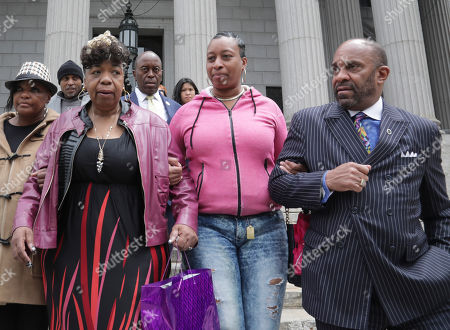 Gwen Carr, Ellisha Garner, Michael Garner. Gwen Carr, second from left, mother of Eric Garner- an unarmed black man who died as he was being subdued in a chokehold by police officer Daniel Pantaleo nearly five years ago, and his sister Ellisha Garner, second from right, and his cousin Michael Garner, far right, leave court in New York. A judge cleared the way for a police disciplinary trial to begin next week for Pantaleo in the death of Garner, after rejecting his claim that a police watchdog agency didn't have jurisdiction to prosecute the case