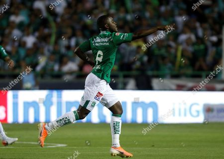 Joel Campbell of Leon celebrates after scoring a goal during the 2019 Clausura Tournament soccer match between Leon and Xolos of Tijuana at the Nou Camp Stadium in Leon, Mexico, 11 May 2019.