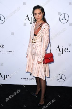 Olympia Valance attends the Aje show during the Mercedes-Benz Fashion Week Australia in Sydney, 12 May 2019. The fashion event runs from 12 to 17 May.