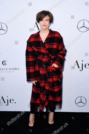 Megan Washington attends the Aje show during the Mercedes-Benz Fashion Week Australia in Sydney, 12 May 2019. The fashion event runs from 12 to 17 May.