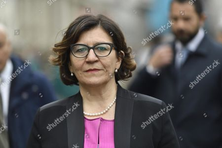 Italian Defence Minister, Elisabetta Trenta, attends the Alpini, specialised mountain warfare infantry corps of the Italian Army, parade during the final day of the 92nd muster in Milan, Italy, 12 May 2019. Founded in 1872 their original mission was to protect Italy's northern mountain border with France and Austria-Hungary.