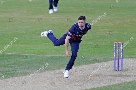 James Anderson of Lancashire bowling during the Royal London One Day Cup semi-final match between Hampshire County Cricket Club and Lancashire County Cricket Club at the Ageas Bowl, Southampton
