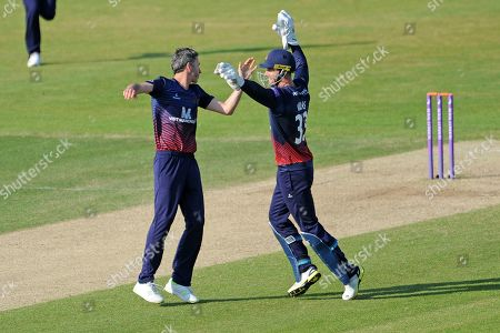 Dane Vilas and Graham Onions of Lancashire celebrate the wicket of James Vince  during the Royal London One Day Cup semi-final match between Hampshire County Cricket Club and Lancashire County Cricket Club at the Ageas Bowl, Southampton