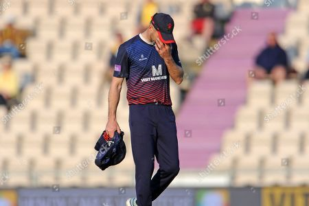 Stock Picture of James Anderson of Lancashire walks off as he is forced to leave the pitch after being hit on the knee during the Royal London One Day Cup semi-final match between Hampshire County Cricket Club and Lancashire County Cricket Club at the Ageas Bowl, Southampton