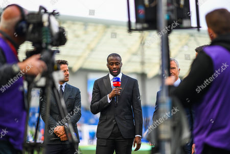 Stock Picture of (L to R) Jamie Redknapp , Yaya Toure and Graeme Souness presenting for Sky Sports