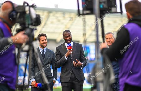 (L to R) Jamie Redknapp , Yaya Toure and Graeme Souness presenting for Sky Sports