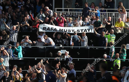 Stock Image of Newcastle fans with a banner for Newcastle United manager Rafa Benitez to stay