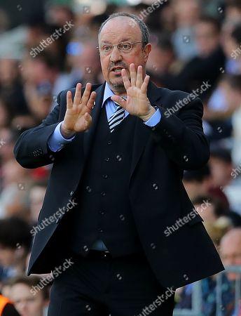 Stock Photo of Newcastle United manager Rafa Benitez gestures on the touchline