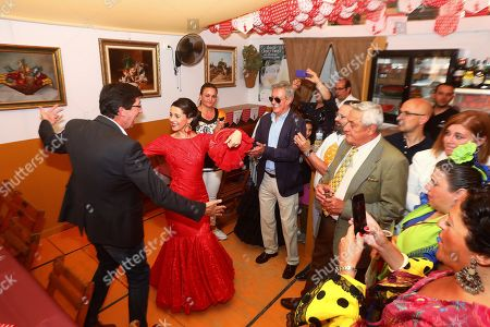 Spokeswoman of Spanish Ciudadanos party, Ines Arimadas (2-L), dances during her visit to the Fair in Jerez de la Frontera, Spain, 12 May 2019. Spain is holding European, local and regional elections 26 May 2019.