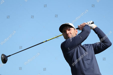 Stock Image of Oliver Wilson of England tees off the 5th during Day Four of the Betfred British Masters at Hillside Golf Club