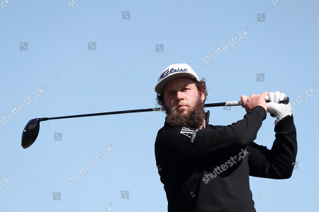 Andrew Johnston of England tees of the 5th during Day Four of the Betfred British Masters at Hillside Golf Club