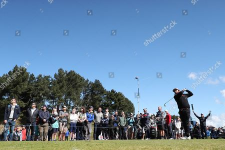 Andrew Johnston of England tees off the 4th during Day Four of the Betfred British Masters at Hillside Golf Club