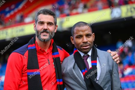 Stock Picture of Crystal Palace goalkeeper Julian Speroni (1) and Crystal Palace midfielder Jason Puncheon (42) pose for farewell pictures after the Premier League match between Crystal Palace and Bournemouth at Selhurst Park, London
