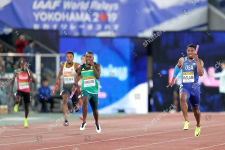 Remontay McClain (R) of the USA competes against Akani Simbine (2nd R) of South Africa and Robin Erewa (2nd L) of Germany in the Men's 4x200m Relay Final at the IAAF World Relays 2019 in Yokohama, south of Tokyo, Japan, 12 May 2019.