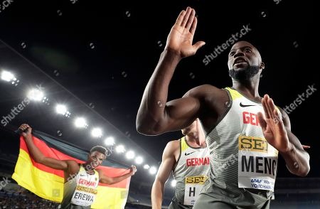 Aleixo-Platini Menga (R) of Germany celebrates with teammates after winning the third place in the Men's 4x200m Relay Final at the IAAF World Relays 2019 in Yokohama, south of Tokyo, Japan, 12 May 2019.
