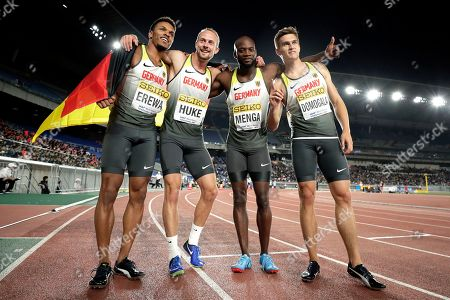 Stock Photo of (L-R) Robin Erewa, Maurice Huke, Aleixo-Platini Menga and Patrick Domogala of Germany celebrate after winning the third place in the Men's 4x200m Relay Final at the IAAF World Relays 2019 in Yokohama, south of Tokyo, Japan, 12 May 2019.