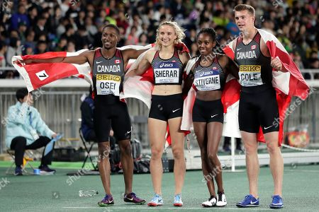 (L-R) Philip Osei, Zoe Sherar, Aiyanna Stiverne and Austin Cole of Canada celebrate after winning the second place in the Mixed 4x400m Relay Final at the IAAF World Relays 2019 in Yokohama, south of Tokyo, Japan, 12 May 2019.