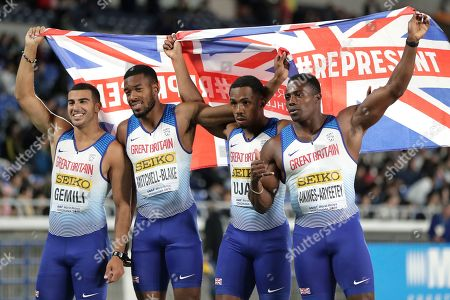 (L-R) Adam Gemili, Nethaneel Mitchell-Blake, Chijindu Ujah and Harry Aikines-Aryeetey of Great Britain celebrate after winning the third place in the Men's 4x100m Relay Final at the IAAF World Relays 2019 in Yokohama, south of Tokyo, Japan, 12 May 2019.